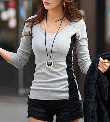 Scoop Neck Long Sleeves Casual T-Shirt For Women gray Zoom. Product ... 2667dcb1918