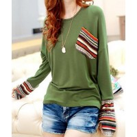 Scoop Neck Long Sleeves Striped Splicing Casual T-Shirt For Women green red