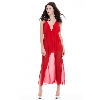 Sexy Backless Sleeveless Plunging Neck Red Color Slit Side Design Spaghetti Strap Dress For Women