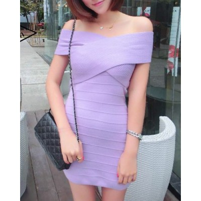 Sexy Boat Neck Bandage Vest + Solid Color Cotton Blend Mini Skirt For Women purple black yellow pink