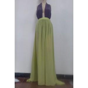 Sexy Halter Sleeveless Spliced Backless Chiffon Dress For Women