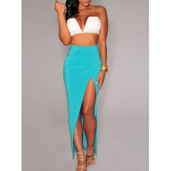 Sexy High-Waisted Solid Color Furcal Skirt For Women black blue red