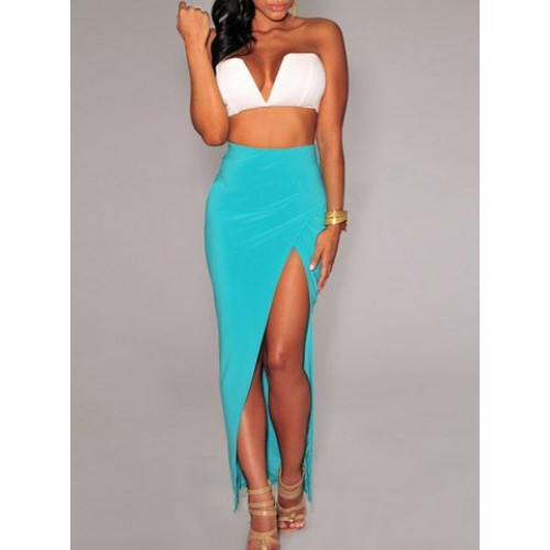 Sexy High-Waisted Solid Color Furcal Skirt For Women black blue ...