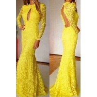 Sexy Lace Round Neck Long Sleeve Backless Solid Color Dress For Women yellow
