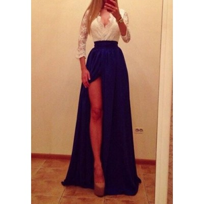 Sexy Plunging Neck 1/2 Sleeve Spliced High Furcal Dress For Women blue white