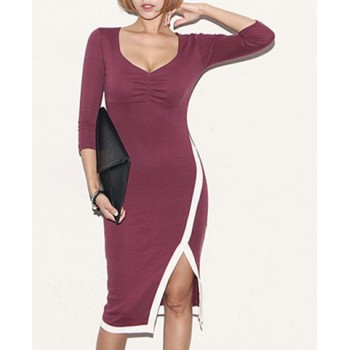 Sexy Plunging Neck 3/4 Sleeve Furcal Bodycon Dress For Women black red