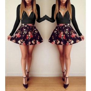 Sexy Plunging Neck Long Sleeve Floral Print Black Dress For Women black