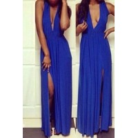 Sexy Plunging Neck Sleeveless Solid Color High-Furcal Dress For Women blue