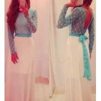 Sexy Round Collar Long Sleeve Spliced See-Through Backless Dress For Women sky blue