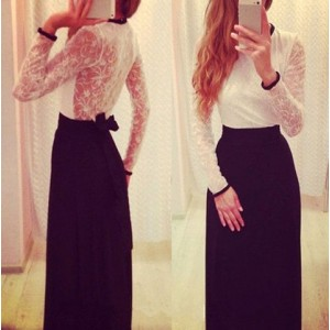 Sexy Round Collar Long Sleeve Spliced See-Through Lace-Up Dress For Women