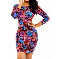 Sexy Round Neck Long Sleeve Skinny Printed Dress For Women