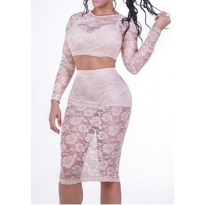 Sexy Round Neck Long Sleeve Spliced Lace Crop Top + See-Through Skirt Twinset For Women white