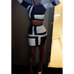 Sexy Round Neck Long Sleeve Spliced See-Through Crop Top + Bodycon Skirt Twinset For Women black white