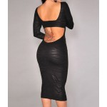Sexy Scoop Neck Long Sleeve Bodycon Backless Dress For Women black white