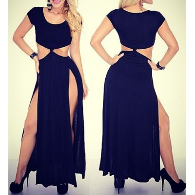 Sexy Scoop Neck Short Sleeve High Furcal Solid Color Dress For Women black