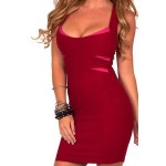 Sexy Scoop Neck Sleeveless Bodycon Low Cut Sundress For Women RED BLACK WHITE