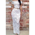 Sexy Slash Collar Short Sleeve Lace See-Through Bodycon Dress For Women white