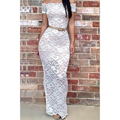 Sexy Slash Collar Short Sleeve Lace See-Through Bodycon Dress For Women white