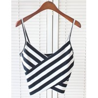 bb7cd1a4f3326d Sexy Spaghetti Strap Sleeveless Striped Low Cut Crop Top For Women white  black