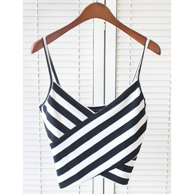 Sexy Spaghetti Strap Sleeveless Striped Low Cut Crop Top For Women white black
