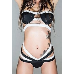 Sexy Strapless Bandage Hollow Out One-Piece Swimwear For Women white black