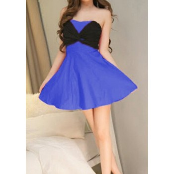 Sexy Strapless Sleeveless Color Block Dress For Women white black blue
