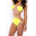 Sexy Strapless Sleeveless See-Through Tank Top + High-Waisted Shorts Twinset For Women yellow
