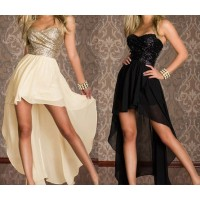 Sexy Strapless Swallowtailed Sequin Embellished Chiffon Dress For Women white black