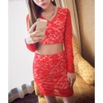 Sexy Suit V-Neck Long Sleeves Lace Short Blouse and Skirt For Women red black