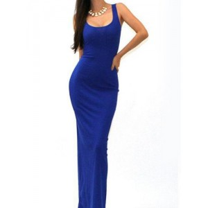 Sexy U-Neck Sleeveless Solid Color Bodycon Sundress For Women blue khaki red black