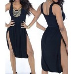 Sexy U-Neck Sleeveless Solid Color Furcal Asymmetrical Dress For Women black