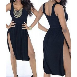 Sexy U-Neck Sleeveless Solid Color Furcal Asymmetrical Dress For Women black