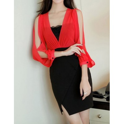 Sexy V-Neck Long Sleeve Color Block Hollow Out Furcal Dress For Women red