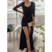 Sexy V-Neck Long Sleeve Spliced Low Cut See-Through Dress For Women black