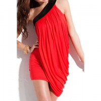 Sexy Women's Color Block Ruched One-Shoulder Dress RED BLACK