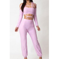 Sexy Women's Halterneck Long Sleeve Hollow Out Jumpsuit pink