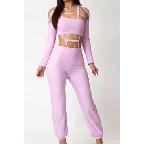 abaabca60bf Sexy Women s Halterneck Long Sleeve Hollow Out Jumpsuit pink Zoom. Product  ...