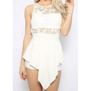 Sexy Women's Jewel Neck Lace Splicing Backless Jumpsuit white
