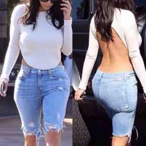 Sexy Women's Jewel Neck Long Sleeve Backless T-Shirt white