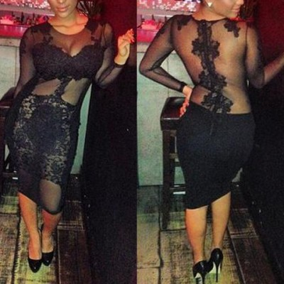 Sexy Women's Jewel Neck Long Sleeve Bodycon Lace Dress black