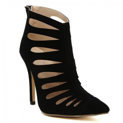 Sexy Women's Pumps With Stiletto Heel and Hollow Out Design black