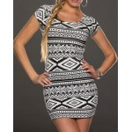 Sexy Women's Scoop Neck Geometric Short Sleeve Bodycon Dress black