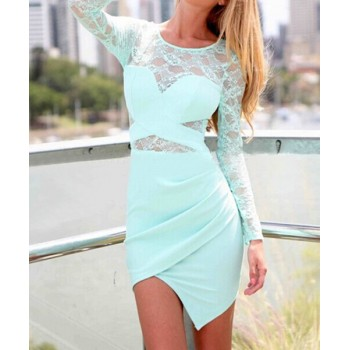 Sexy Women's Scoop Neck Lace Splicing Asymmetric Dress green white