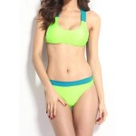 Sexy Women's U Neck Color Block Bikini Set green