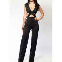Sexy Women's V-Neck Hollow Out Black Sleeveless Jumpsuit black