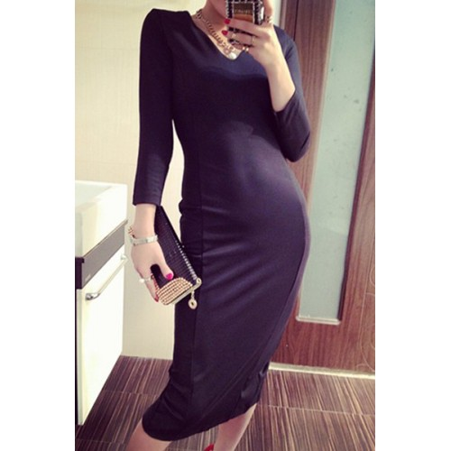 Sexy Women S V Neck Solid Color Stretchy Slimming Mid Calf Long