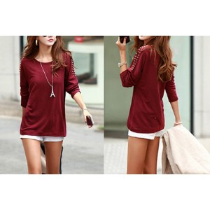 Simple Solid Color Scoop Collar Rivet Shoulder Long Sleeves Women's T-shirt green black red