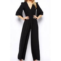 Solid Color Boot Cut Stylish Plunging Neck Half Sleeve Women's Jumpsuits black
