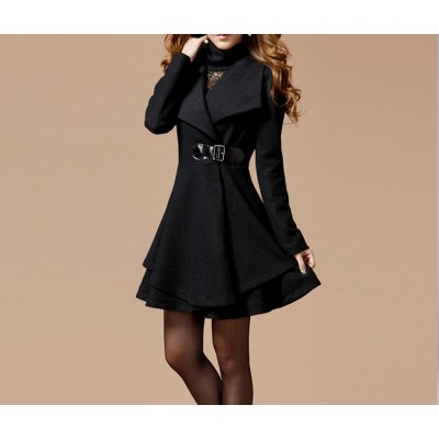 Solid Color Noble Style Worsted Turn-Down Collar Long Sleeves Coat For Women black red blue