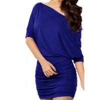 Solid Color Ruched Batwing Sleeve One-Shoulder Packet Buttock Dress For Women blue white black